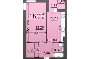 ЖК Потемкинский: планировка 1-комнатной квартиры 55.16 м²