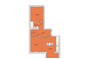 ЖК Прага: планировка 2-комнатной квартиры 66.84 м²