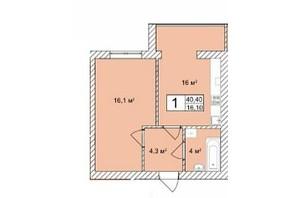 ЖК Прага: планировка 1-комнатной квартиры 40.4 м²