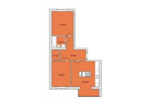 ЖК Прага: планировка 2-комнатной квартиры 67.74 м²