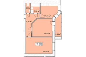 ЖК Прага: планировка 2-комнатной квартиры 68 м²