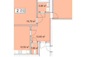 ЖК Прага: планування 2-кімнатної квартири 72 м²