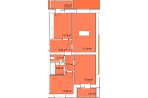 ЖК Прага: планування 3-кімнатної квартири 89.7 м²