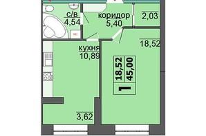 ЖК Правильний вибір: планування 1-кімнатної квартири 46.21 м²