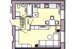 ЖК Правильный выбор: планировка 1-комнатной квартиры 35.9 м²