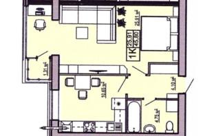 ЖК Правильный выбор: планировка 1-комнатной квартиры 45.8 м²