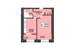 ЖК Правильный выбор: планировка 1-комнатной квартиры 45.45 м²
