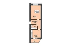 ЖК Правильный выбор: планировка 1-комнатной квартиры 46.81 м²