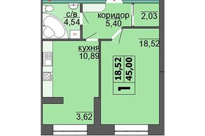 ЖК Правильный выбор: планировка 1-комнатной квартиры 46.21 м²