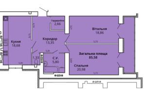 ЖК Премьер Хаус 4 очередь: планировка 2-комнатной квартиры 89.26 м²