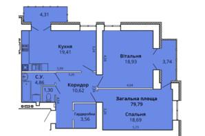 ЖК Премьер Хаус 4 очередь: планировка 2-комнатной квартиры 83.73 м²