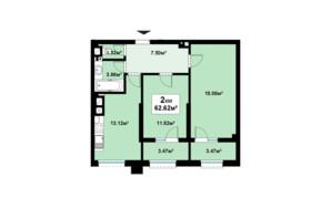 ЖК Премьера: планировка 2-комнатной квартиры 62.62 м²