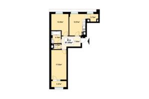 ЖК Премьера: планировка 2-комнатной квартиры 61.05 м²