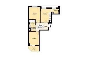ЖК Премьера: планировка 2-комнатной квартиры 58.48 м²