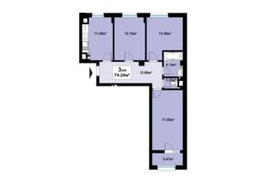 ЖК Премьера: планировка 3-комнатной квартиры 74.24 м²