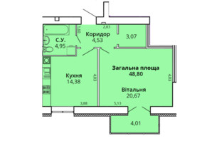 ЖК Прем'єр Хаус 4 черга: планування 1-кімнатної квартири 48.8 м²