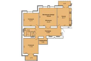 ЖК Прем'єр Хаус 4 черга: планування 3-кімнатної квартири 113.34 м²