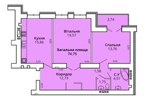 ЖК Прем'єр Хаус 4 черга: планування 2-кімнатної квартири 74.75 м²