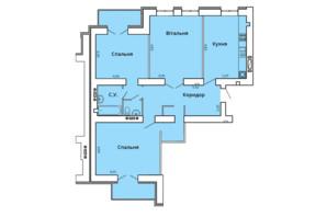 ЖК Прем'єр Хаус 4 черга: планування 3-кімнатної квартири 102.01 м²