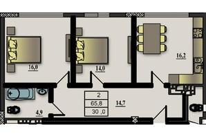 ЖК Прем'єр-Холл: планування 2-кімнатної квартири 65.8 м²