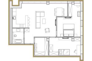 ЖК Premier Park: планировка 3-комнатной квартиры 75.62 м²