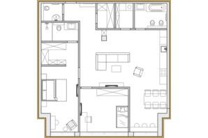ЖК Premier Park: планировка 3-комнатной квартиры 99.53 м²