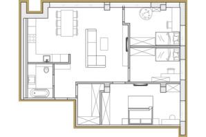 ЖК Premier Park: планировка 3-комнатной квартиры 77.93 м²