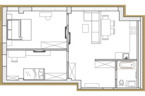 ЖК Premier Park: планування 2-кімнатної квартири 60.47 м²