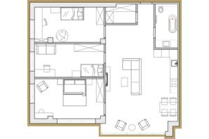 ЖК Premier Park: планування 3-кімнатної квартири 91.61 м²