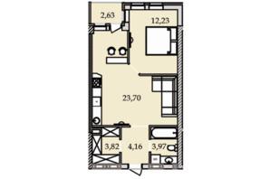 ЖК Premier Tower: планування 1-кімнатної квартири 50.57 м²