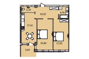 ЖК Premier Tower: планування 2-кімнатної квартири 74.29 м²