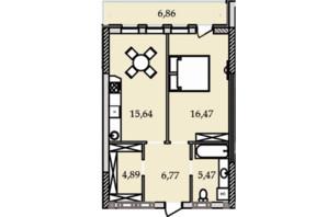ЖК Premier Tower: планування 1-кімнатної квартири 56.31 м²