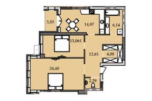 ЖК Premier Tower: планування 2-кімнатної квартири 82.02 м²