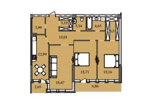 ЖК Premier Tower: планування 3-кімнатної квартири 108.61 м²