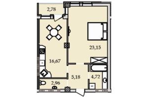 ЖК Premier Tower: планування 1-кімнатної квартири 55.23 м²