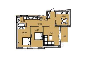 ЖК Premier Tower: планування 3-кімнатної квартири 84.83 м²