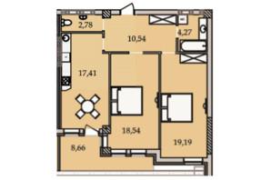 ЖК Premier Tower: планування 2-кімнатної квартири 81.53 м²