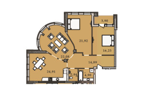 ЖК Premier Tower: планування 3-кімнатної квартири 111.83 м²