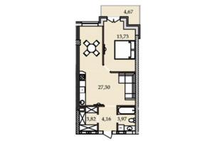 ЖК Premier Tower: планування 1-кімнатної квартири 57.87 м²