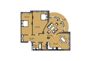 ЖК Premier Tower: планування 3-кімнатної квартири 124.05 м²
