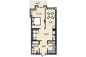 ЖК Premier Tower: планування 1-кімнатної квартири 58.09 м²