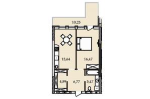 ЖК Premier Tower: планування 1-кімнатної квартири 59.7 м²