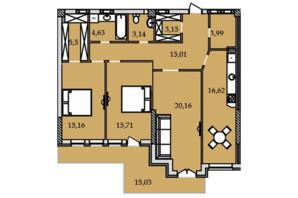 ЖК Premier Tower: планування 3-кімнатної квартири 119.43 м²