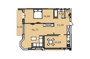 ЖК Premier Tower: планування 2-кімнатної квартири 82.05 м²