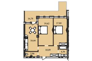 ЖК Premier Tower: планування 2-кімнатної квартири 88.2 м²