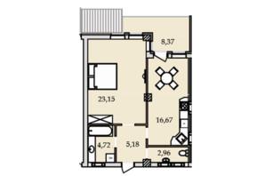 ЖК Premier Tower: планування 1-кімнатної квартири 60.82 м²