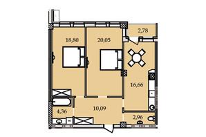 ЖК Premier Tower: планировка 2-комнатной квартиры 74.3 м²