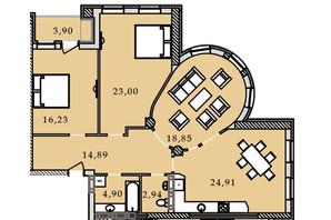 ЖК Premier Tower: планировка 3-комнатной квартиры 108.61 м²