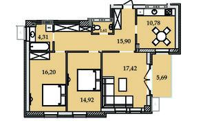ЖК Premier Tower: планировка 3-комнатной квартиры 84.83 м²