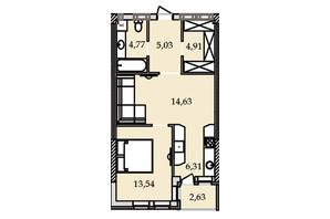 ЖК Premier Tower: планировка 1-комнатной квартиры 51 м²